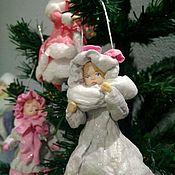 Куклы и игрушки ручной работы. Ярмарка Мастеров - ручная работа Ватная елочная игрушка Барышня.. Handmade.