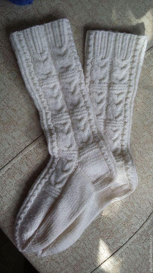 Носки, Чулки ручной работы. Ярмарка Мастеров - ручная работа. Купить женские носки СОВКУШКИ. Handmade. Белый, носки с косами