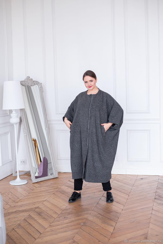 Пальто из Итальянской полушерсти серый меланж оверсайз – купить на Ярмарке Мастеров – OB2IYRU | Пальто, Новосибирск