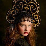 Русский стиль handmade. Livemaster - original item Russian fashion kokoshnik Black and gold crown Couture Headdress. Handmade.