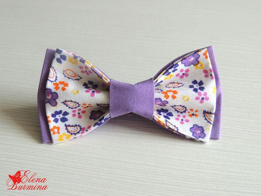 Галстуки, бабочки ручной работы. Ярмарка Мастеров - ручная работа. Купить Бабочка галстук сиреневая в цветочек, хлопок. Handmade. Сиреневый