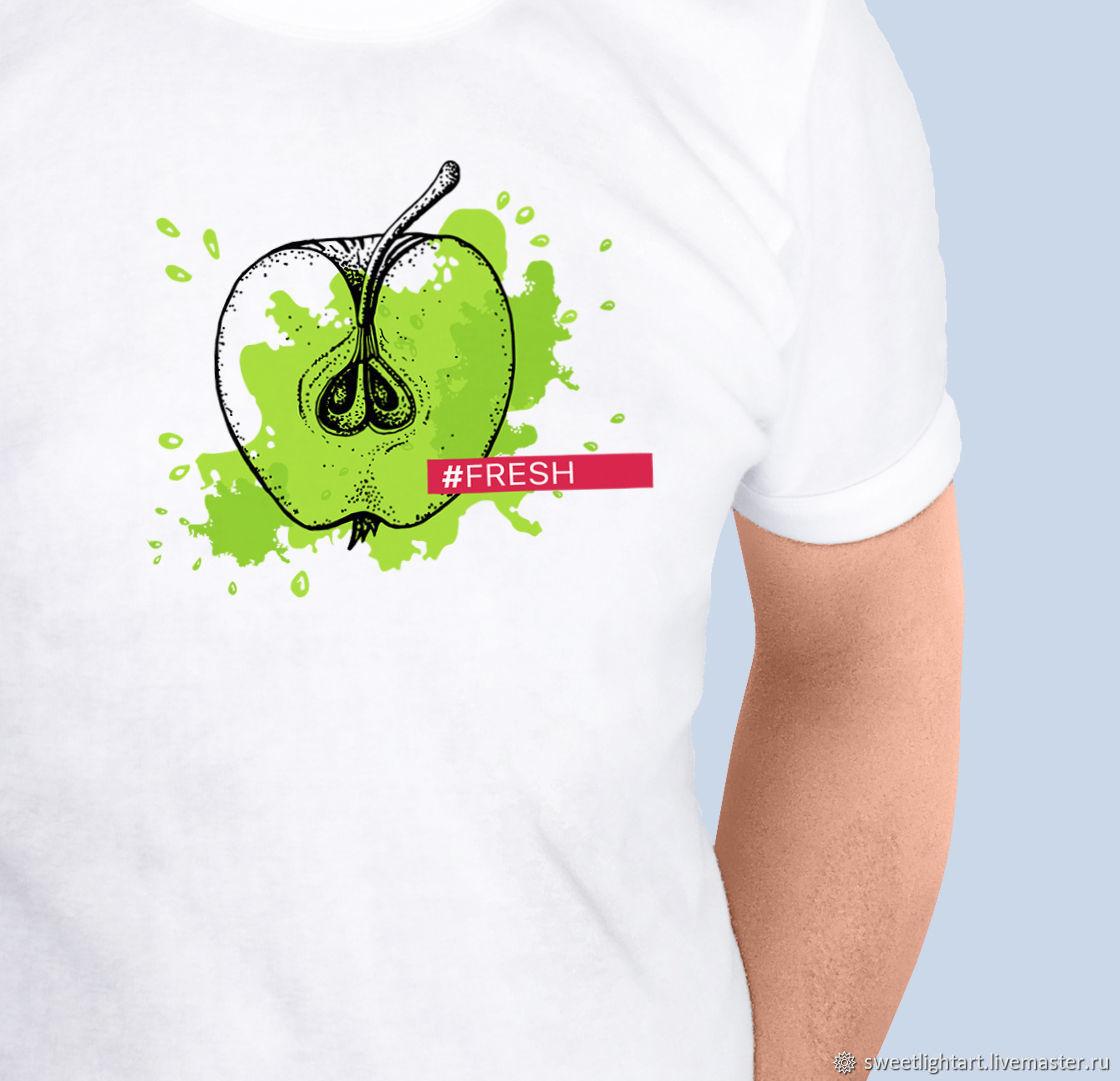 Мужская футболка Сочное яблоко, Футболки майки мужские, Ставрополь,  Фото №1