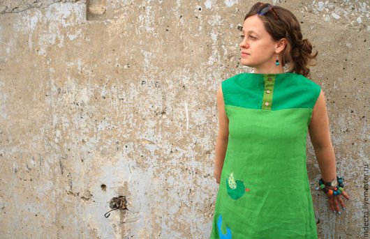 """Платья ручной работы. Ярмарка Мастеров - ручная работа. Купить Платье-бохо """" Оттенки зеленого"""". Handmade. Ярко-зелёный"""