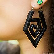 Украшения handmade. Livemaster - original item Large earrings made of black wood with fittings made of titanium. Handmade.