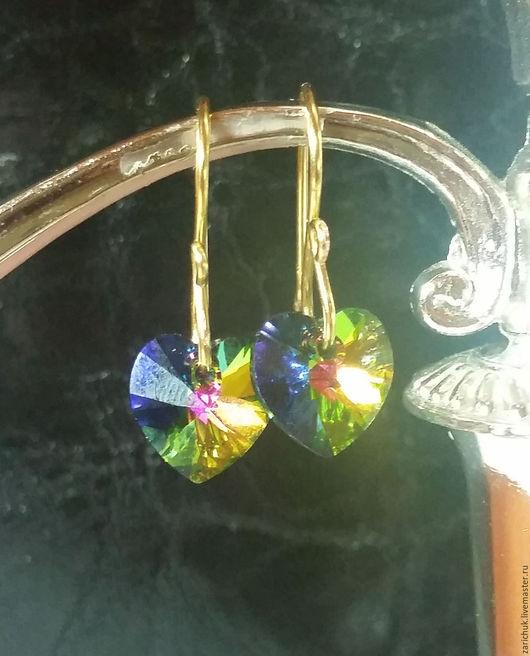 """Серьги ручной работы. Ярмарка Мастеров - ручная работа. Купить Серьги """"Кристальное сердце"""". Handmade. Комбинированный, серьги с кристаллами"""