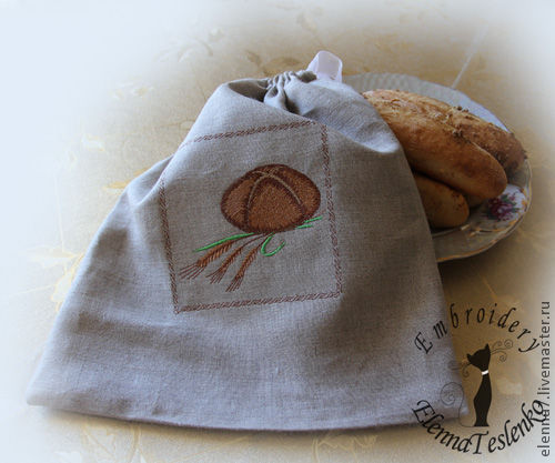 """Кухня ручной работы. Ярмарка Мастеров - ручная работа. Купить Льняной мешок """"Для хлебушка"""". Handmade. Мешок для хлеба, хлопок"""