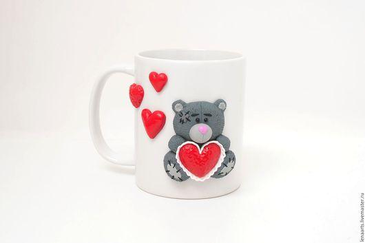 Кружки и чашки ручной работы. Ярмарка Мастеров - ручная работа. Купить Кружка Мишка Тедди Me to you - с декором из полимерной глины. Handmade.