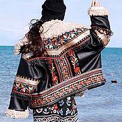 Тесьмы ручной работы. Ярмарка Мастеров - ручная работа Жаккардовая тесьма вышитая камнями и бисером для куртки в стиле бохо.. Handmade.