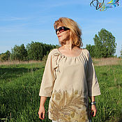 Одежда handmade. Livemaster - original item Blouse cotton Summer grass - ekoprint, contact dyeing. Handmade.