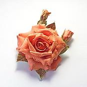 Украшения ручной работы. Ярмарка Мастеров - ручная работа Брошь морковная роза из полимерной глины. Handmade.