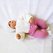 Работы для детей, handmade. Livemaster - original item Discharge kit, baby jumpsuit, pink and white. Handmade.