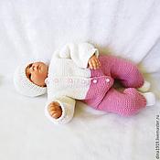 Работы для детей, ручной работы. Ярмарка Мастеров - ручная работа комплект на выписку, комбинезон для новорожденных, розовый, белый. Handmade.