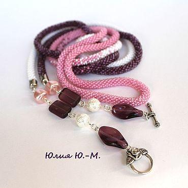 """Decorations handmade. Livemaster - original item Лариат """"Лолита"""", жгут из бисера, белый, сиреневый, розовый цвет. Handmade."""