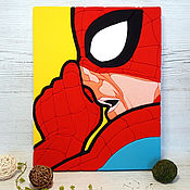 Картины и панно handmade. Livemaster - original item Spider-man in the style of pop art, picture-panels in the technique kinosage. Handmade.