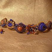 """Украшения ручной работы. Ярмарка Мастеров - ручная работа браслет """"Жаркий вечер"""" вышитый бисером и камнями. Handmade."""