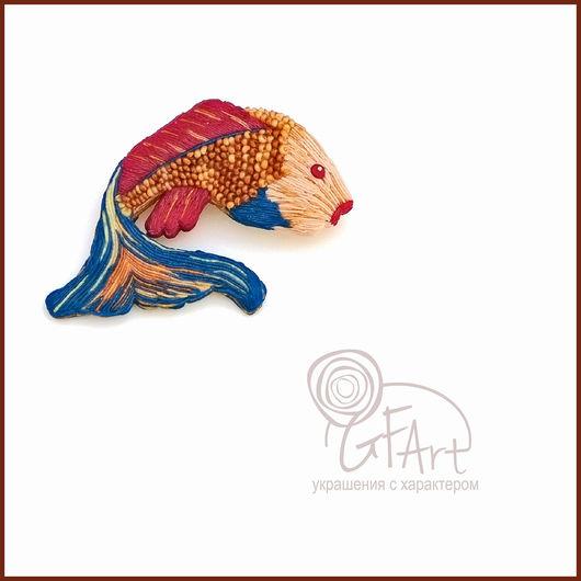 Броши ручной работы. Ярмарка Мастеров - ручная работа. Купить Брошь Рыбка. Handmade. Gfart, брошь ручной работы, подарок