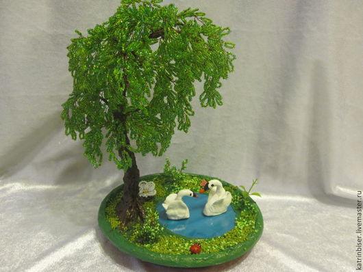 Деревья ручной работы. Ярмарка Мастеров - ручная работа. Купить Ивушка из бисера. Handmade. Зеленый, Дерево счастья, бонсай, подарок