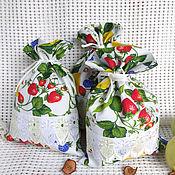 Мешочки для кухни Клубника Хлопок и кружево-шитье