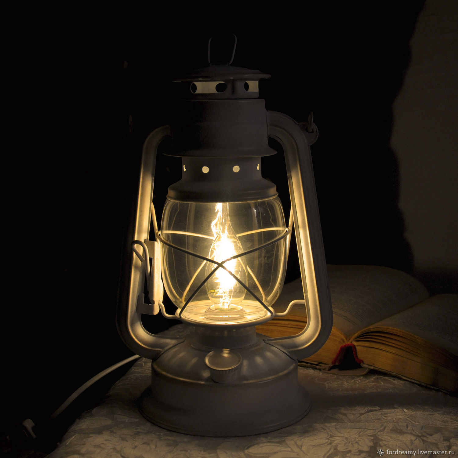 Buy Table lamp electric oil lantern white vintage style on ...