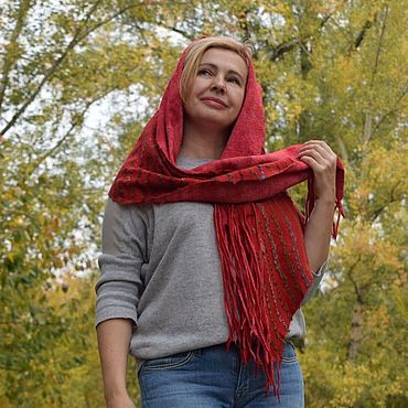 Accessories handmade. Livemaster - original item Red scarf striped tassels Wool cotton stole Maple leaf. Handmade.