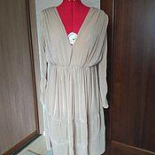 Одежда ручной работы. Ярмарка Мастеров - ручная работа Платье бежевое плиссе. Handmade.