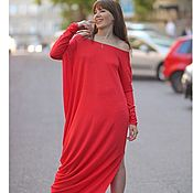 Одежда handmade. Livemaster - original item Red Asymmetric Maxi dress long sleeve.. Handmade.