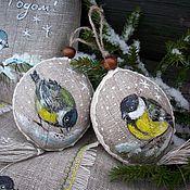 Подарки к праздникам handmade. Livemaster - original item Pair of Christmas balls in the bag. Titmouse. Painting.. Handmade.