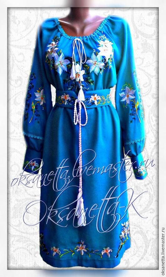 """Платья ручной работы. Ярмарка Мастеров - ручная работа. Купить Платье """"Белые лилии"""". Handmade. Вышиванка, вышиванку купить"""