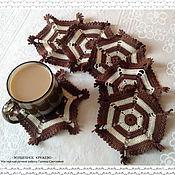 Для дома и интерьера handmade. Livemaster - original item Serving napkins, set of knitted napkin Coffee with cream. Handmade.