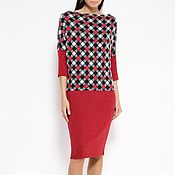 Одежда handmade. Livemaster - original item Dress red harlequin, warm knit. Handmade.