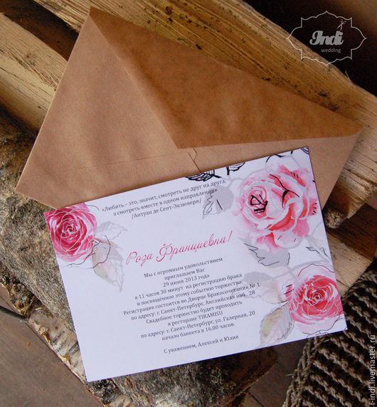 """Свадебные открытки ручной работы. Ярмарка Мастеров - ручная работа. Купить Приглашение с цветами  """"Аромат Роз"""" арт. 02. Handmade."""