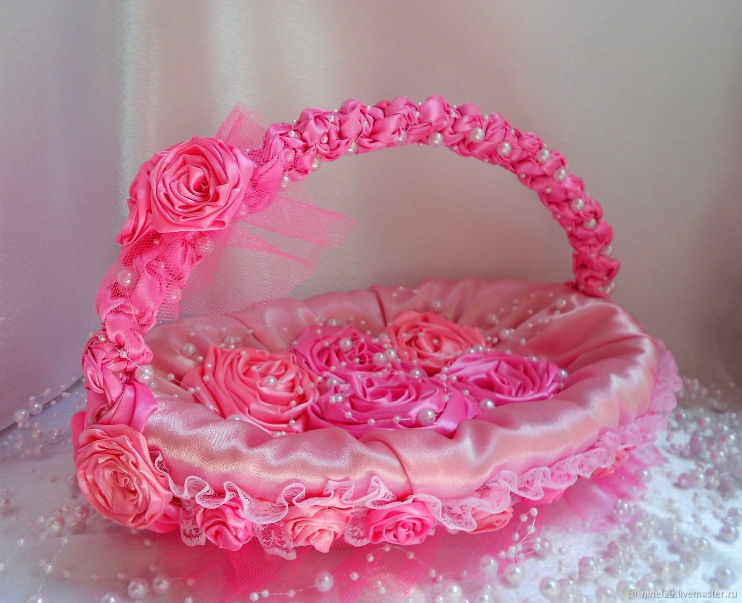Decorative basket with roses of satin ribbons \