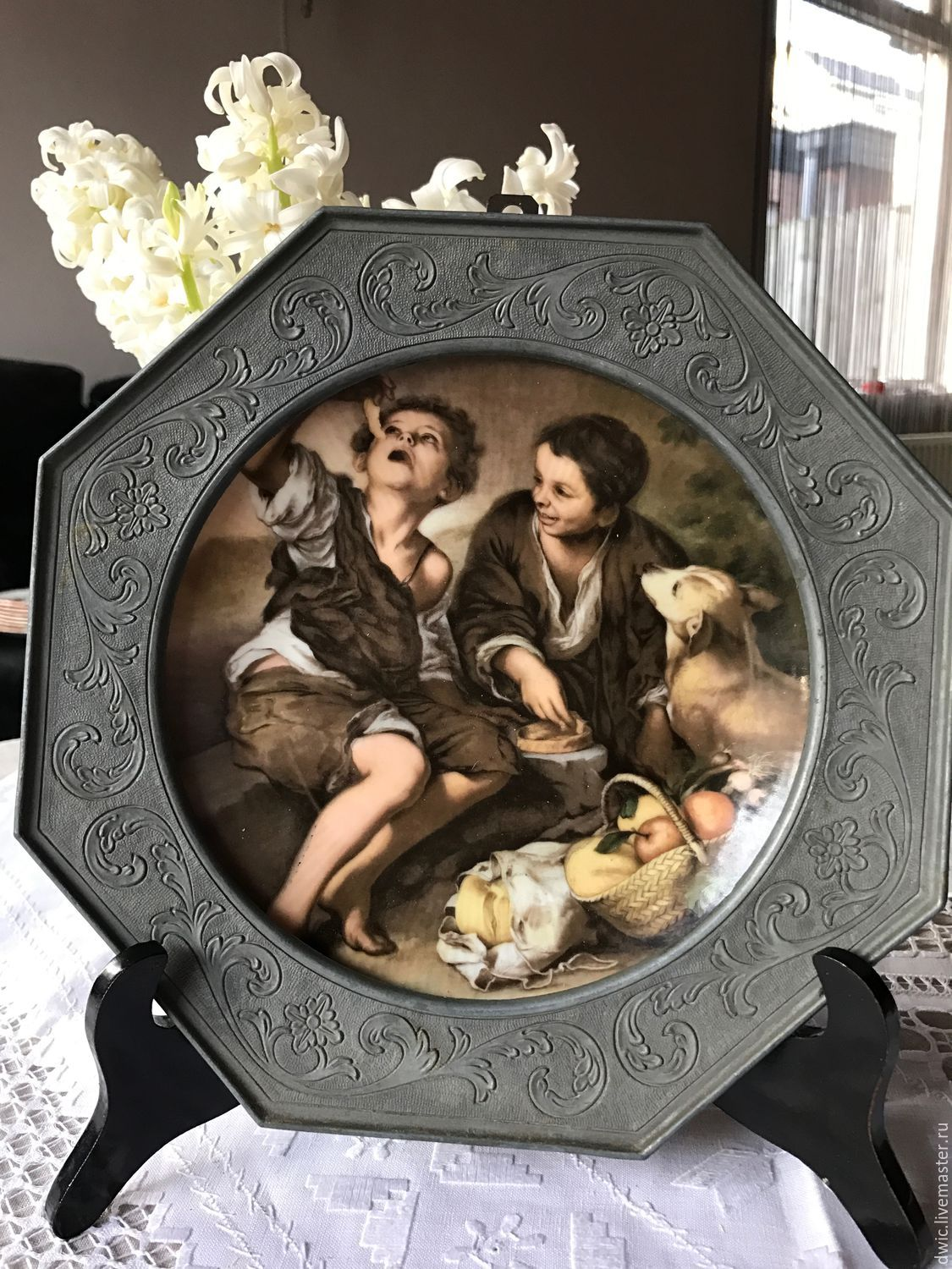 Plate in a decorative tin frame 'picnic', Germany, Vintage interior, Arnhem,  Фото №1