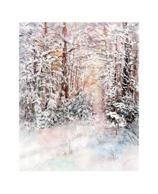 Пейзаж ручной работы. Ярмарка Мастеров - ручная работа. Купить Прогулки по зимнему лесу. Handmade. Лес, деревья, зима