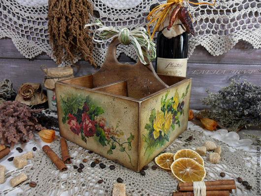 """Корзины, коробы ручной работы. Ярмарка Мастеров - ручная работа. Купить """"Аромат лета"""" короб подставка. Handmade. Короб, для вина"""