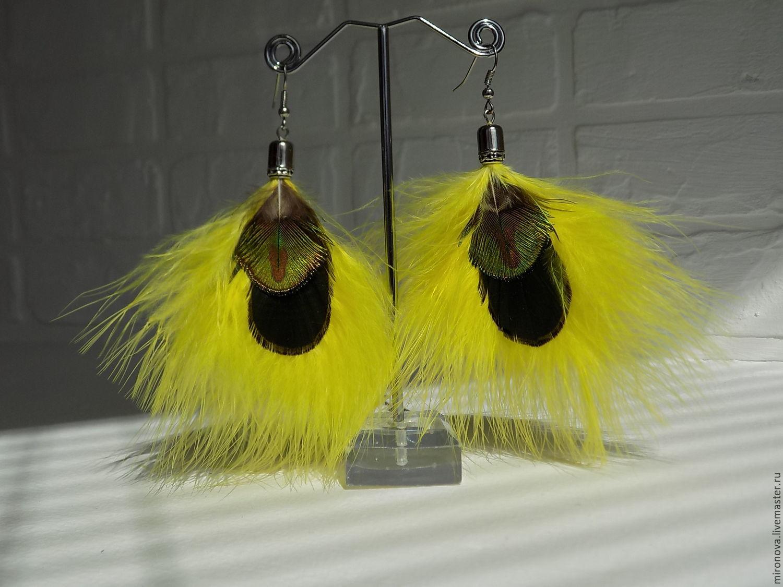Серьги ручной работы. Ярмарка Мастеров - ручная работа. Купить Серьги из перьев (желтые, черно-зеленые). Handmade. Желтый