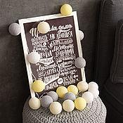 Для дома и интерьера handmade. Livemaster - original item Garland of thread balls, glowing lanterns yellow gray. Handmade.