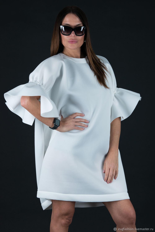 Белое, весеннее платье из неопрена   - DR0230NE, Платья, София,  Фото №1