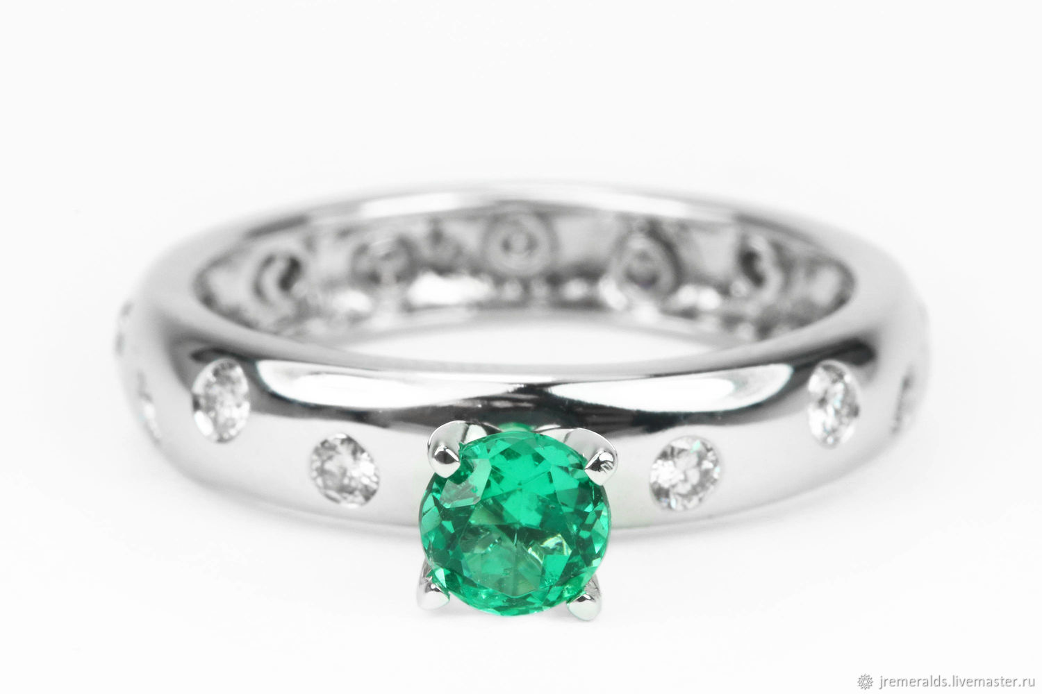 14K White Gold Emerald & Diamond Engagement Ring,Natural Emerald Engag, Rings, West Palm Beach,  Фото №1