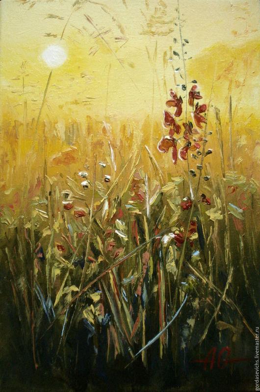 Картины цветов ручной работы. Ярмарка Мастеров - ручная работа. Купить Картина маслом Полевые травы на восходе .  Авторская картина маслом. Handmade.
