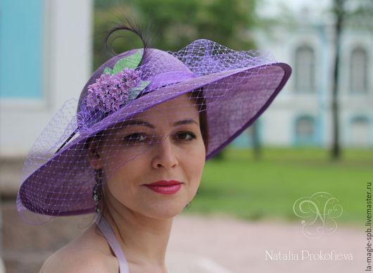 """Шляпы ручной работы. Ярмарка Мастеров - ручная работа. Купить Эксклюзивная шляпа """"Lilas"""" (Сирень). Handmade. Сиреневый, Синамей, скачки"""