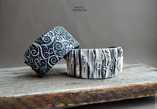 Браслеты ручной работы. Ярмарка Мастеров - ручная работа. Купить Черно-белые браслеты из полимерной глины. На натуральной коже.. Handmade.