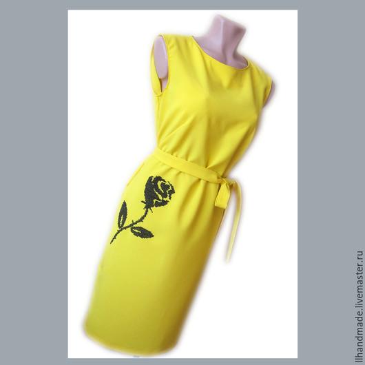 """Платья ручной работы. Ярмарка Мастеров - ручная работа. Купить Платье с вышивкой """"Чёрная роза"""". Handmade. Желтый, платье с вышивкой"""