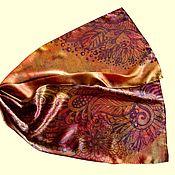 """Аксессуары ручной работы. Ярмарка Мастеров - ручная работа Шелковый шарф """"Волшебный лес"""" из натурального шелка (атлас). Handmade."""