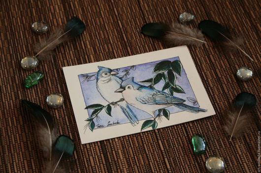 """Открытки на все случаи жизни ручной работы. Ярмарка Мастеров - ручная работа. Купить Открытка """"Голубые сойки"""". Handmade. Открытка, птица"""