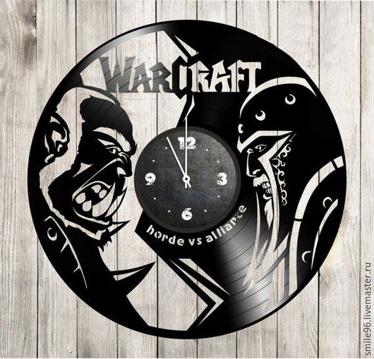 """Часы для дома ручной работы. Ярмарка Мастеров - ручная работа. Купить Часы из пластинки """"WarCraft"""". Handmade. Warcraft, комбинированный, часы"""