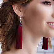 Украшения handmade. Livemaster - original item Tassel earrings Bordeaux, handmade. Handmade.