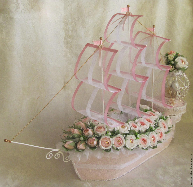 свадебный корабль из конфет фото