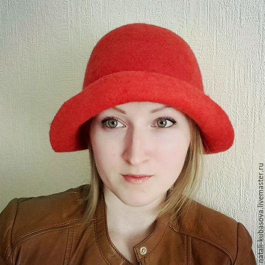 Шляпы ручной работы. Ярмарка Мастеров - ручная работа. Купить Шляпка глубокой посадки. Handmade. Ярко-красный, шляпа с полями