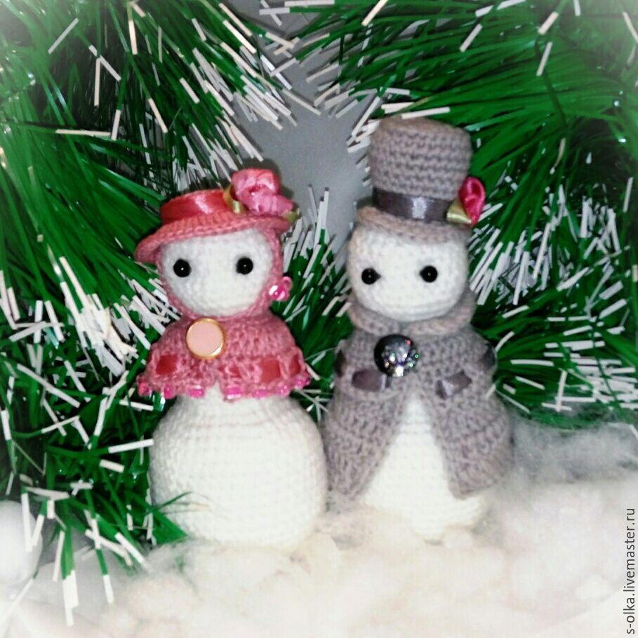 Снеговики Элегантная пара Снеговик вязаный снеговичок Игрушка Подарок, Снеговики, Санкт-Петербург, Фото №1